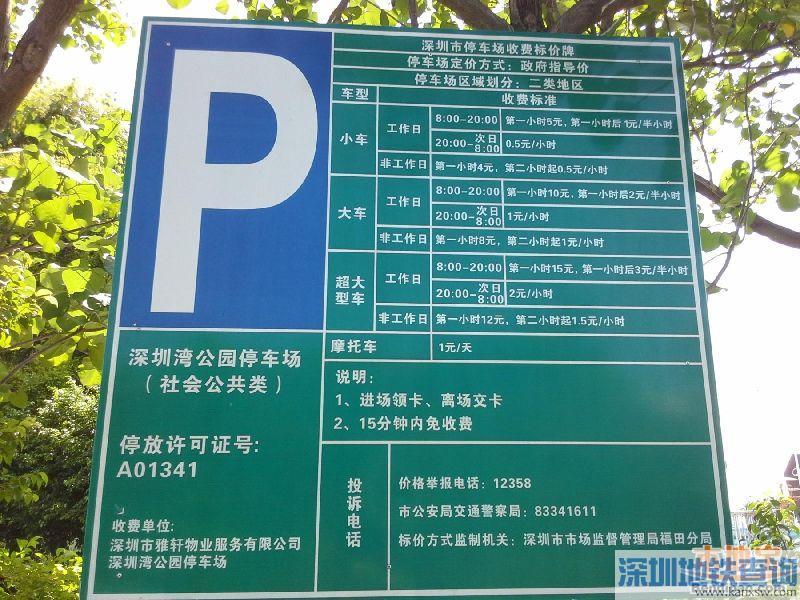 深圳湾公园停车场收费标准