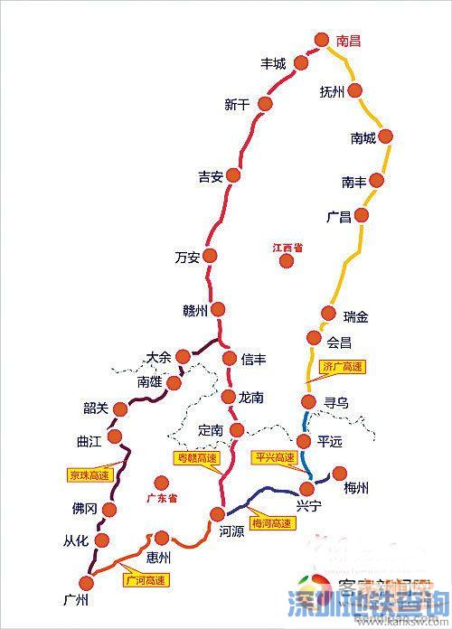 平兴高速路线图月底通车 广东往江西又增新路