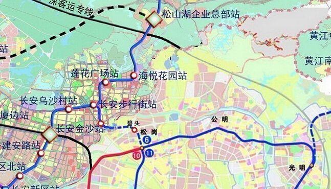 深圳东莞地铁对接图