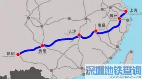 沪昆高铁,东起上海,西至昆明,途经上海,杭州,南昌,长沙,贵阳,昆明等