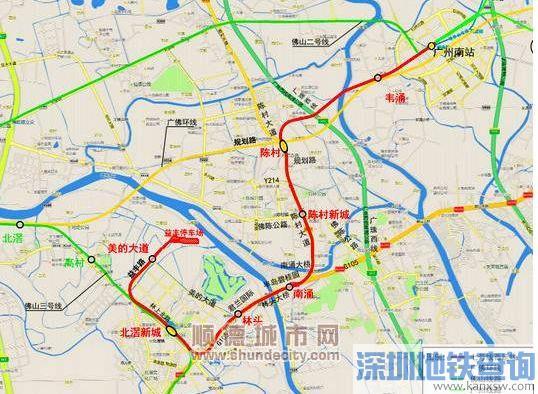 广州地铁7号线顺德段线路规划图 最新