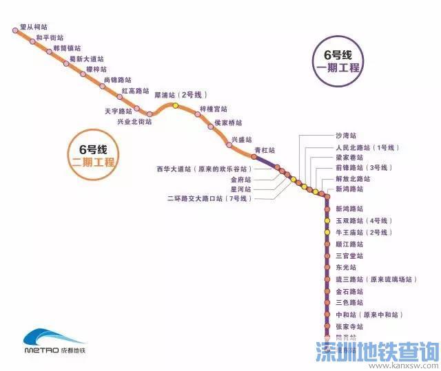 成都地铁6号线一二期全部站点位置、排列顺序图