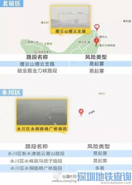 重庆有哪些路段容易起雾?盘点重庆易起雾、团雾92条路段