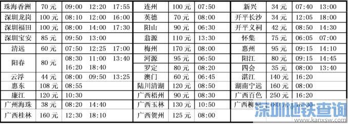 佛山高明汽车客运站时刻表