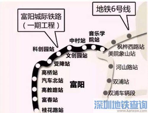 杭州至富阳城际铁路11座站点位置公布