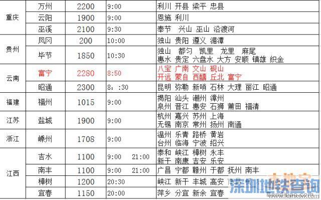 深圳坪地汽车站新增6班线 附最新班车时刻表