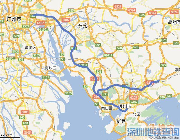 广深高速公路地图指引
