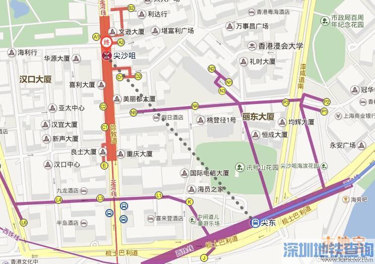 从深圳福田口岸到尖沙咀公交巴士、地铁怎么去?