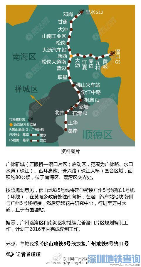 佛山地铁5号线将地接广州地铁5号线 11号线 规划线路图图片