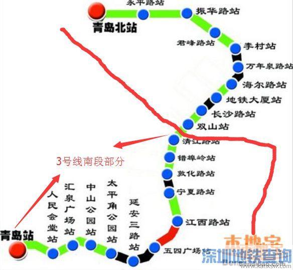 青岛地铁3号线南段线路走向图是怎么样的