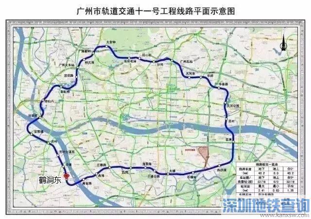 注:此图为广州地铁11号线线路图,将与佛山地铁11号线对接,后续将图片