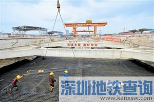 深圳地铁5号线南延线新进展 前湾公园站封顶