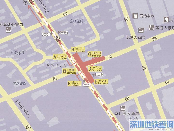 青岛地铁2号线苗岭站各出入口位置附近公交站点、公交线路、换乘攻略一览