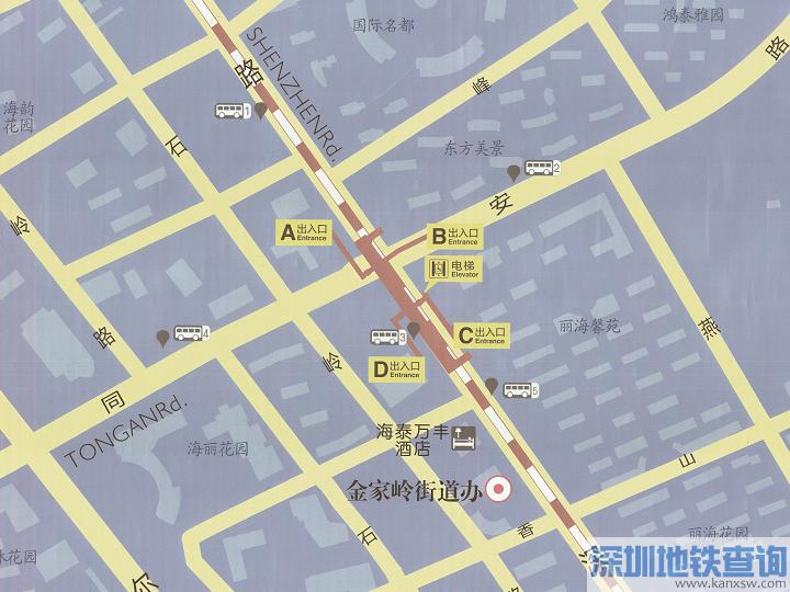 青岛地铁2号线同安路站各出入口公交站点、公交线路、公交换乘攻略一览