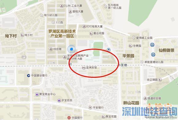 深圳地铁2号线三期工程莲塘站具体位置、附近公交站点线路和重点建筑一览