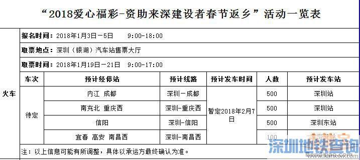 深圳2018春运免费火车票汽车票1月3日开订 附所需条件、详细抢订渠道