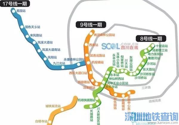 成都地铁17号线一期最新规划线路图 站点位置示意图