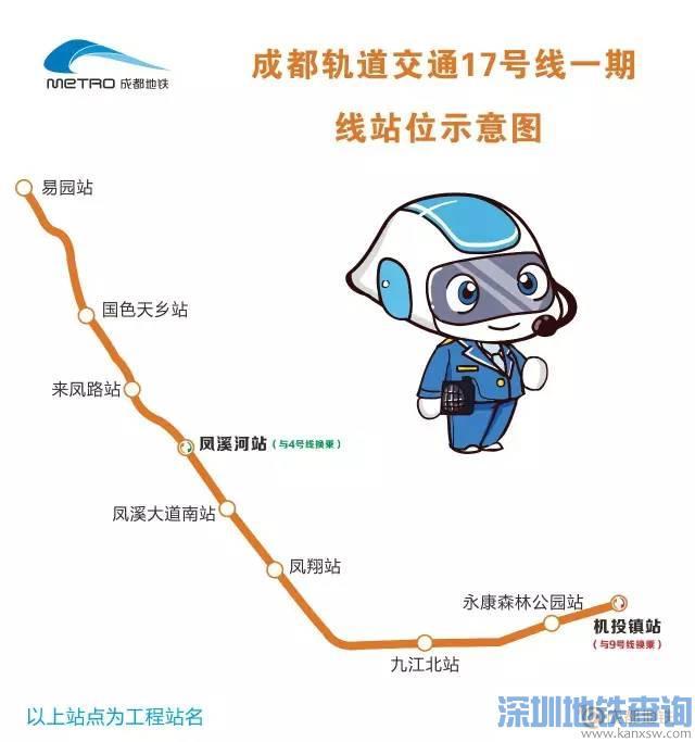 成都地铁17号线一期最新规划线路图 站点位置示意图图片