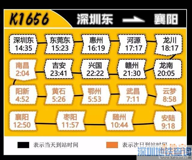 深圳火车东站长途列车最新时刻表(2017年4.16调图后)