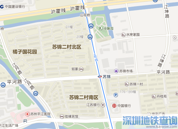苏州地铁4号线苏锦站首末班运营时间出入口信息、接驳公交换乘、周边地标建筑物