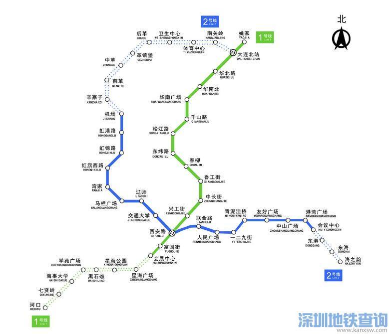 大连地铁1号线二期5月10日开始试通车附最新线路图