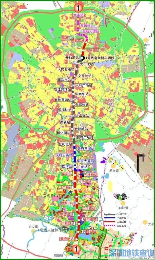 成都地铁1号线三期最新线路图、站点、通车时间、工程进展