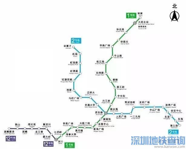 大连地铁1号线二期6月7日将载客试运营 附线路图图片