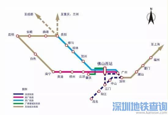 佛山西站坐高铁可通往哪些城市和地方?
