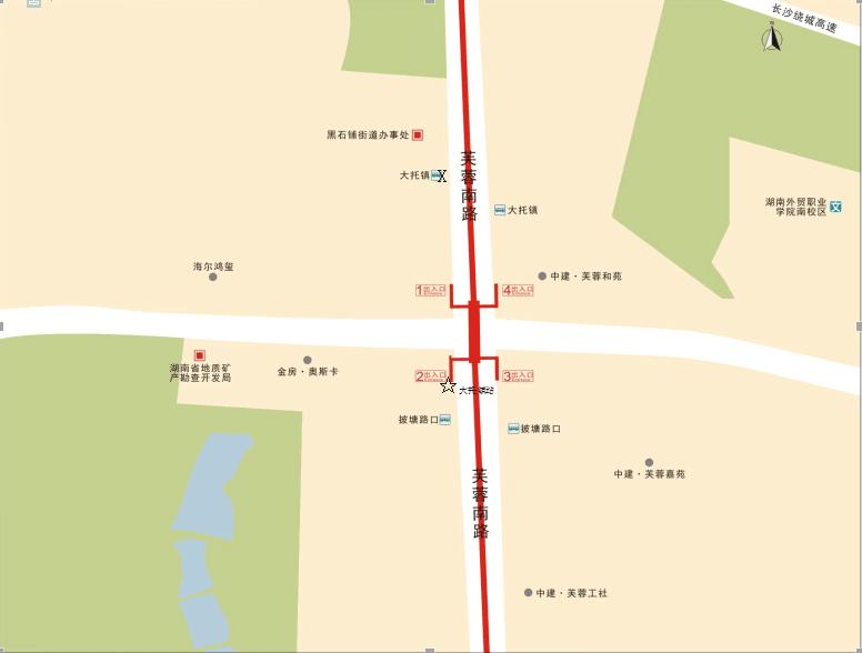 长沙地铁1号线各站出入口及公交换乘查询