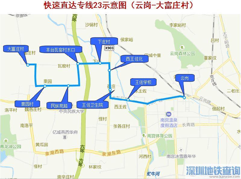 北京公交2条快速直达专线线路2018年1月15日起调整