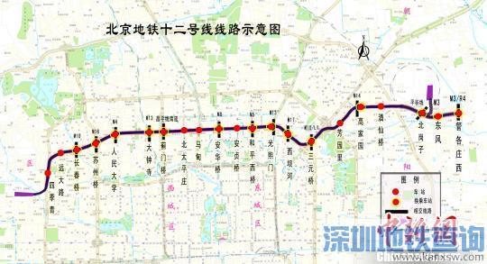 北京地铁12号线换乘站点达15座 预计2021年通车