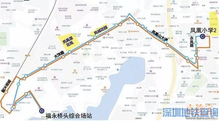 深圳公交B985线线路图、首末班车运营时间、停靠站点、票价