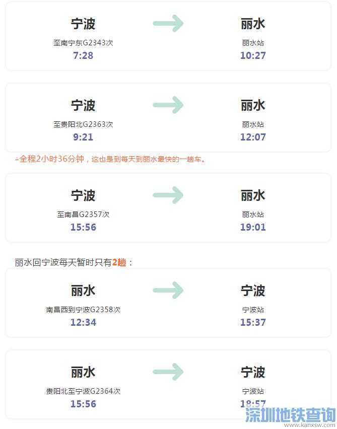 宁波站2019年1月5日起将开通直达丽水高铁列车