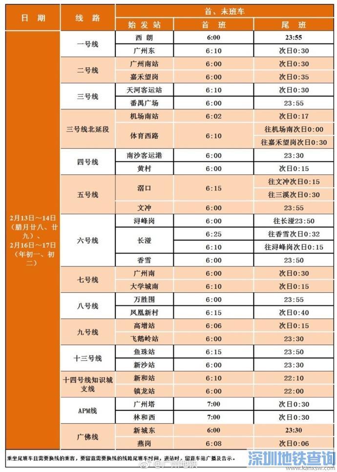 广州地铁2018春节最晚开到几点?
