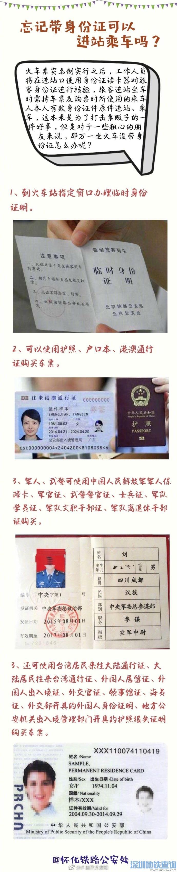 2018坐火车忘记带身份证怎么办?可以进站乘车吗?