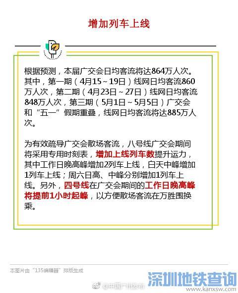 广州地铁8号线、4号线运营2018广交会期间有调整