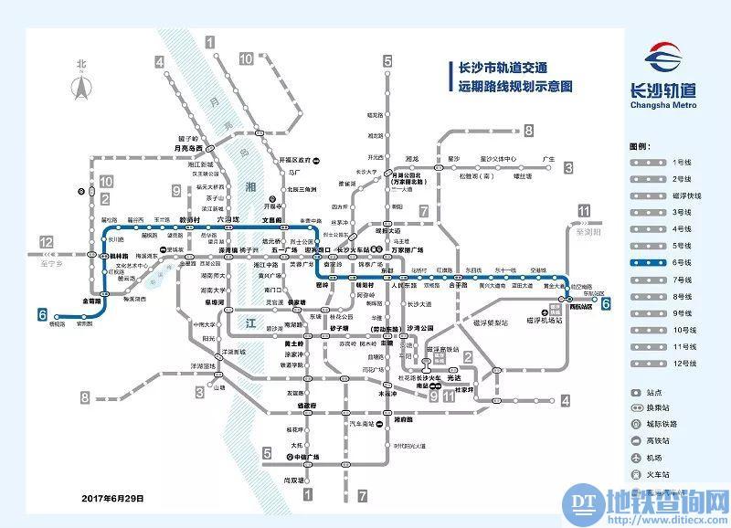 长沙地铁6号线沿途各站点站点附近地标以及换乘线路(汇总)