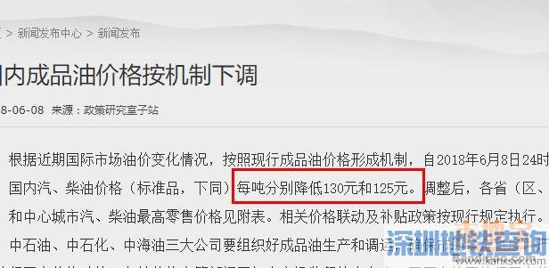 深圳油价6月9日起下跌 加满一箱92号汽油可节省5元
