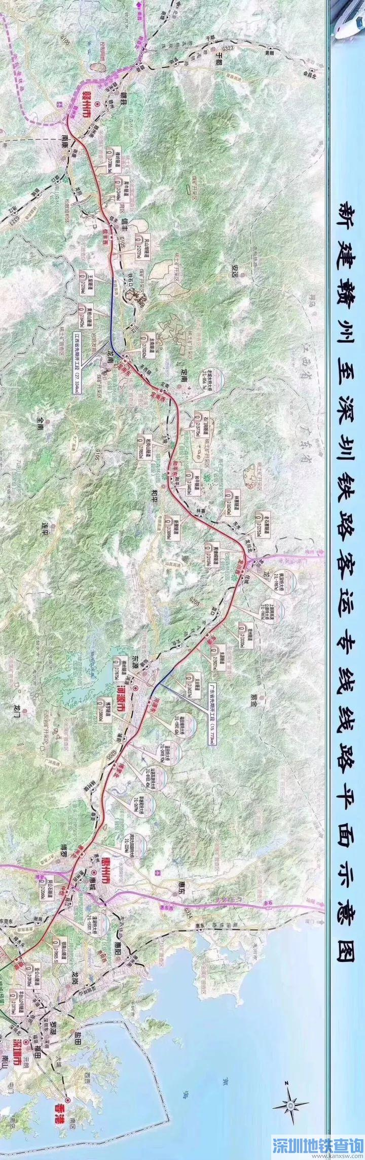 赣深高铁最新线路图(平面示意图 位置图 站点图)