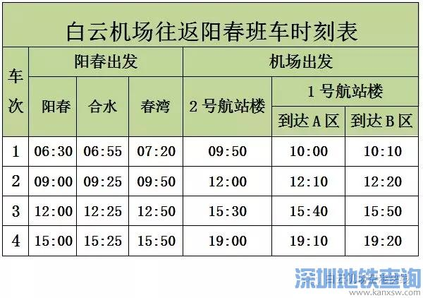 广州白云机场阳春空港快线2018年8月8日开通(附首末班车运营时刻表、票价)