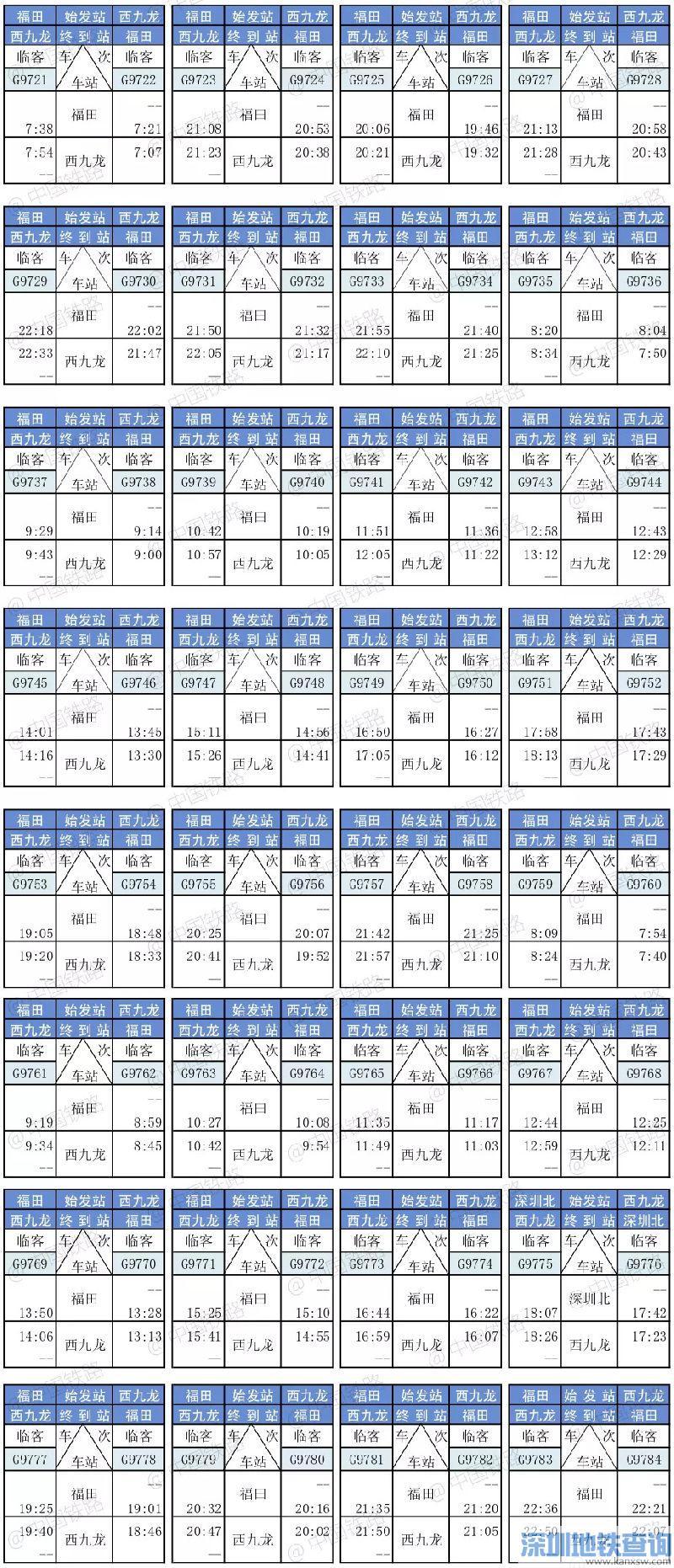k618次列车时刻表_内地各城市往返香港西九龙高铁列车时刻表、二等座票价表(2018 ...