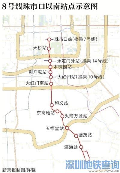 北京地铁8号线南段最新消息:珠市口站至瀛海站年底通车