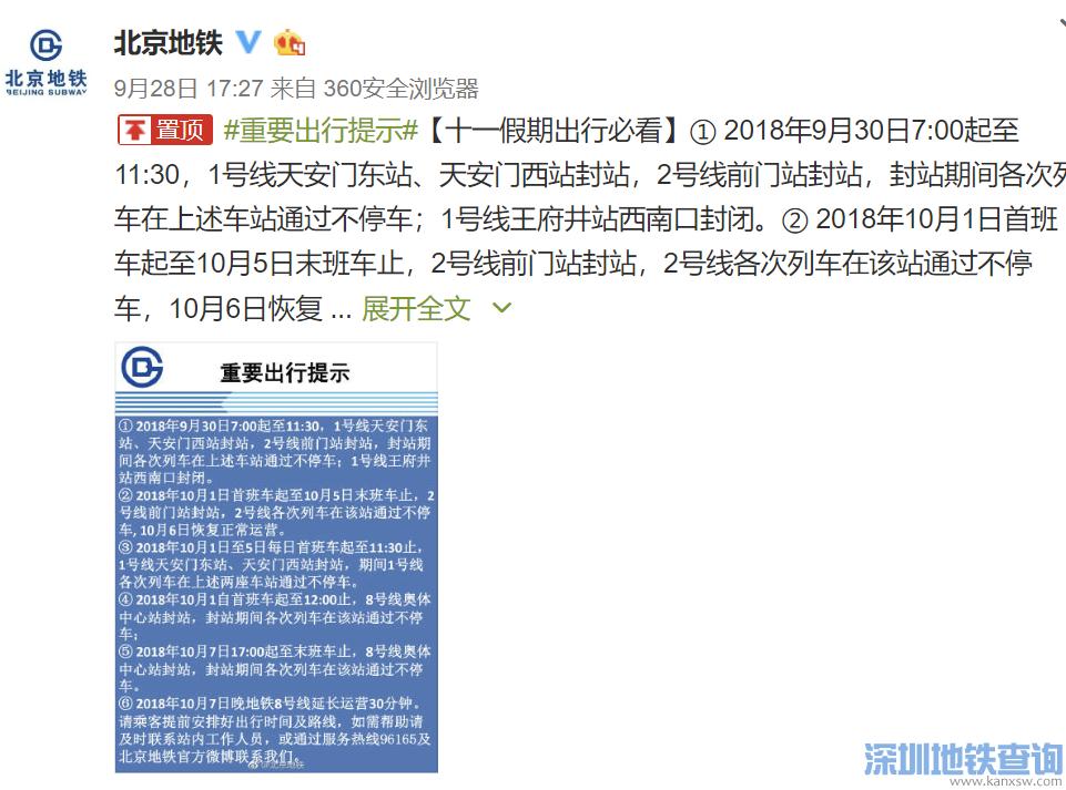 2018国庆假期间北京地铁天安门东等站部分时段将封站