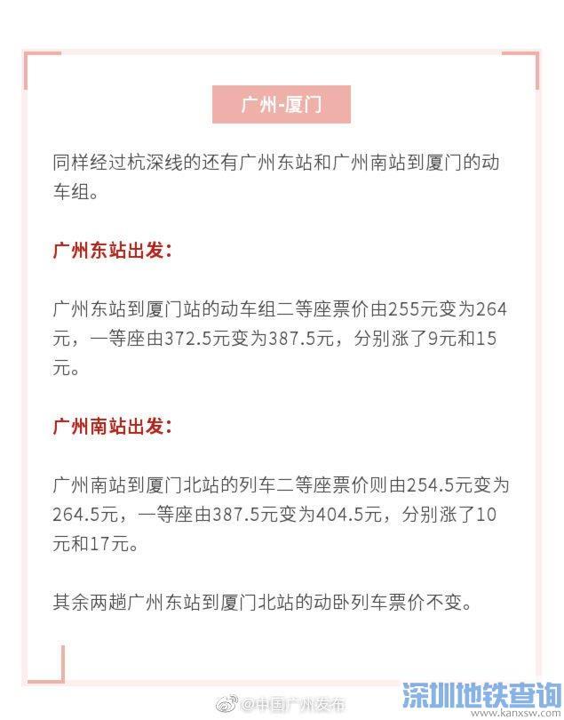 广州到厦门高铁票价多少钱?12月1日起一等座二等座票价有调整