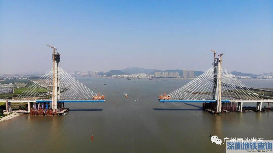 广州南沙港铁路龙穴南水道特大桥主桥将于2019年底合龙