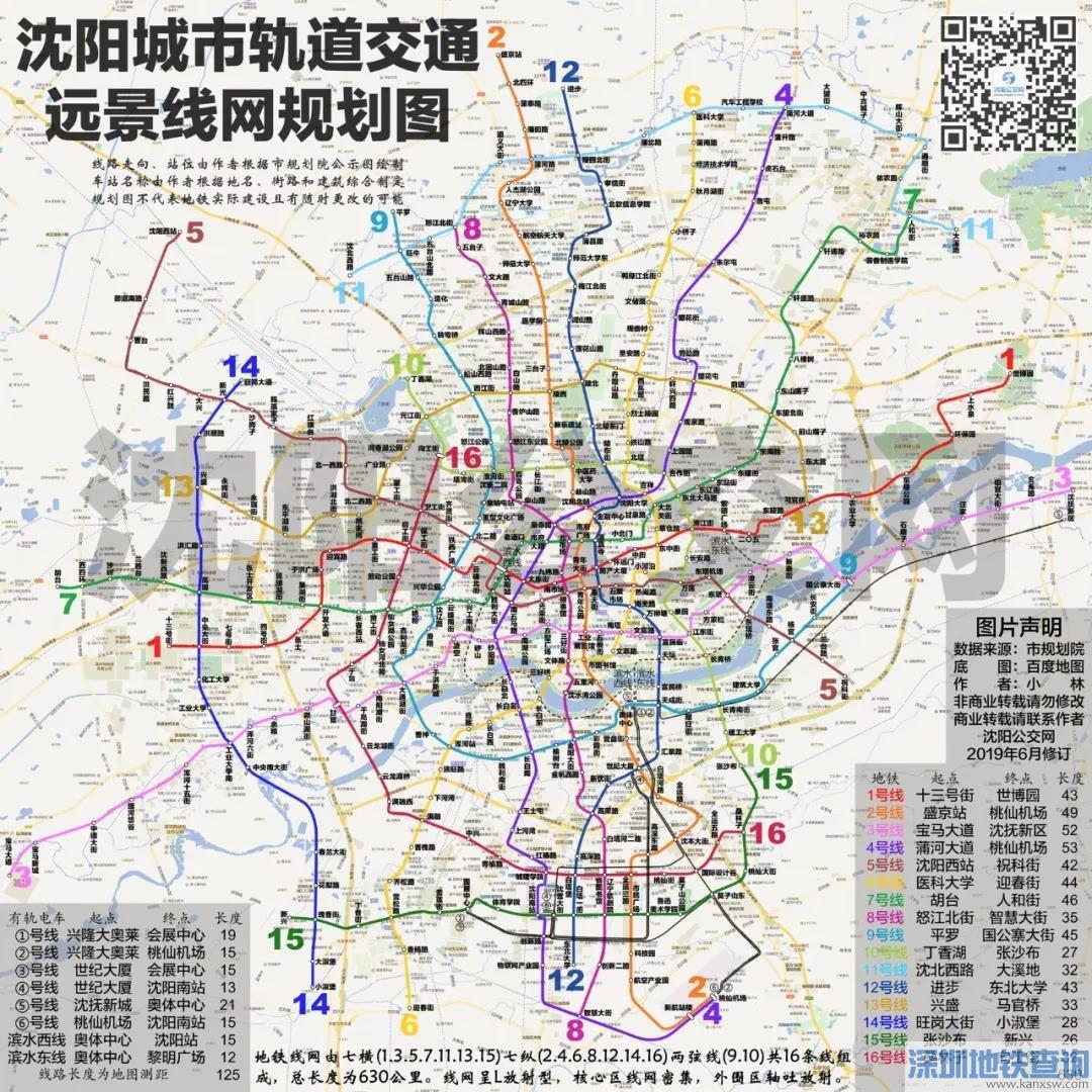 沈阳16条地铁规划图