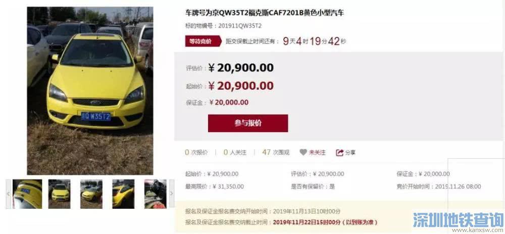 京牌小客车竞拍保证金是多少?