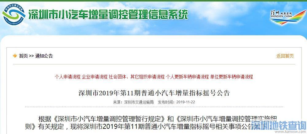 深圳2019年11月车牌摇号指南(时间+结果查询)