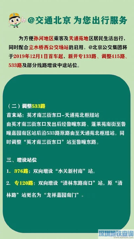 12月1日首车起方便孙河地区和天通苑地区居民生活出行交通调整