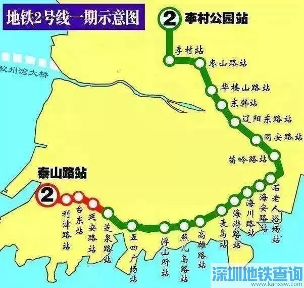 青岛地铁2号线预计2019年底全线贯通